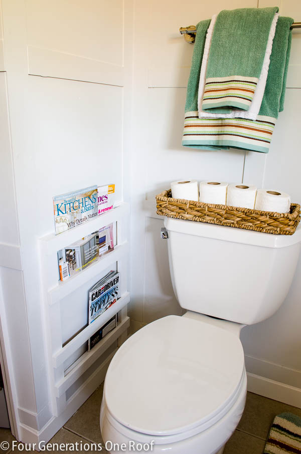 DIY bathroom magazine rack-1