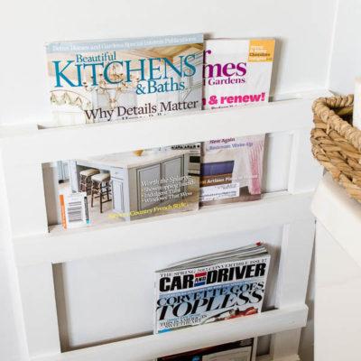 Bathroom DIY Magazine Rack {tutorial}