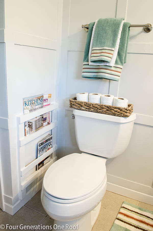 DIY bathroom magazine rack
