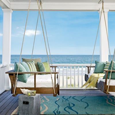 covered porches +coastal blues and greens