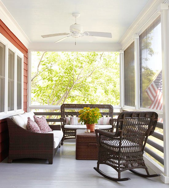 covered porch brown wicker