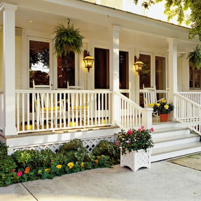 classic white covered porches
