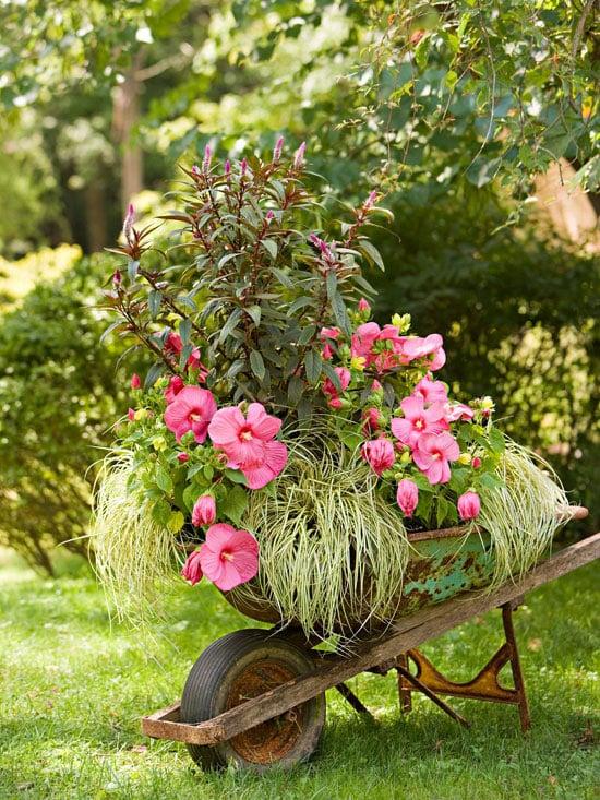 outdoor wheel barrow planter