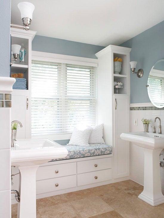 blue + white window seat bath