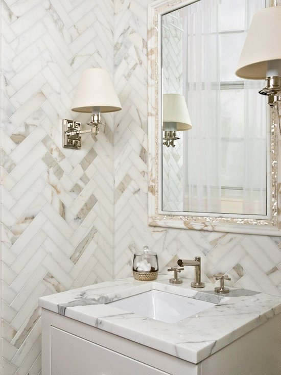 Great herringbone tiled wall
