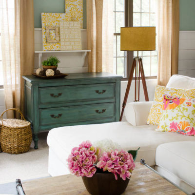 Summer decorating + tripod wood floor lamp