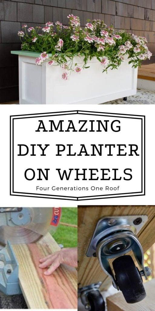 large diy wood planter on wheels painted white