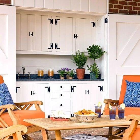outdoor kitchen with barn doors