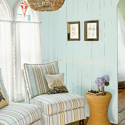 turquoise planked walls