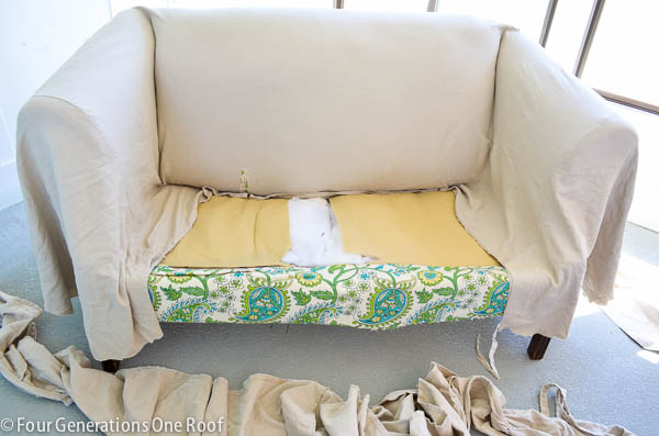 How To Reupholster A Couch No Sew Four Generations One Roof