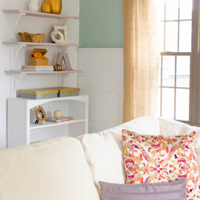 Our lavender + gold bookcase {autumn decorating}