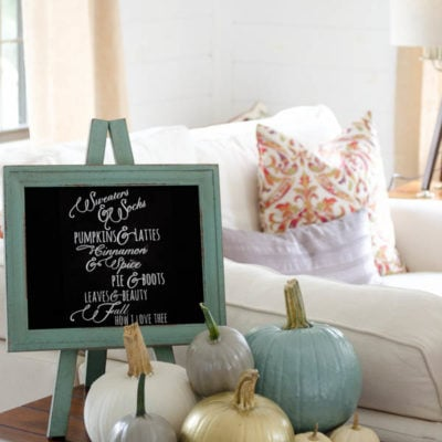 Our Painted Pumpkins Vignette