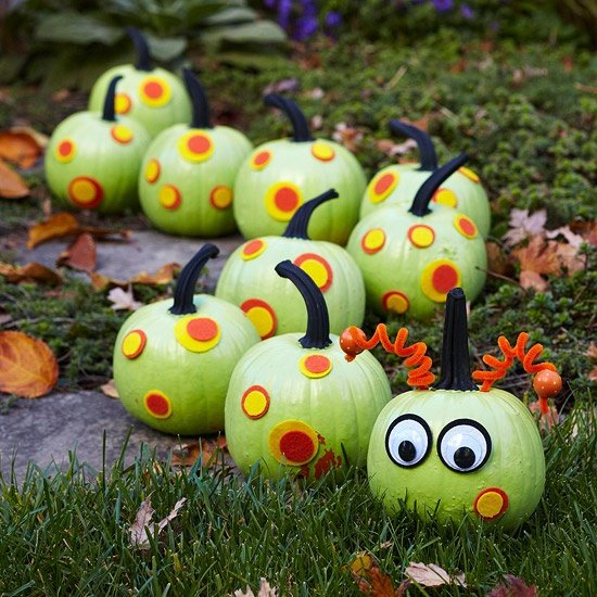 green painted catipillar pumpkin