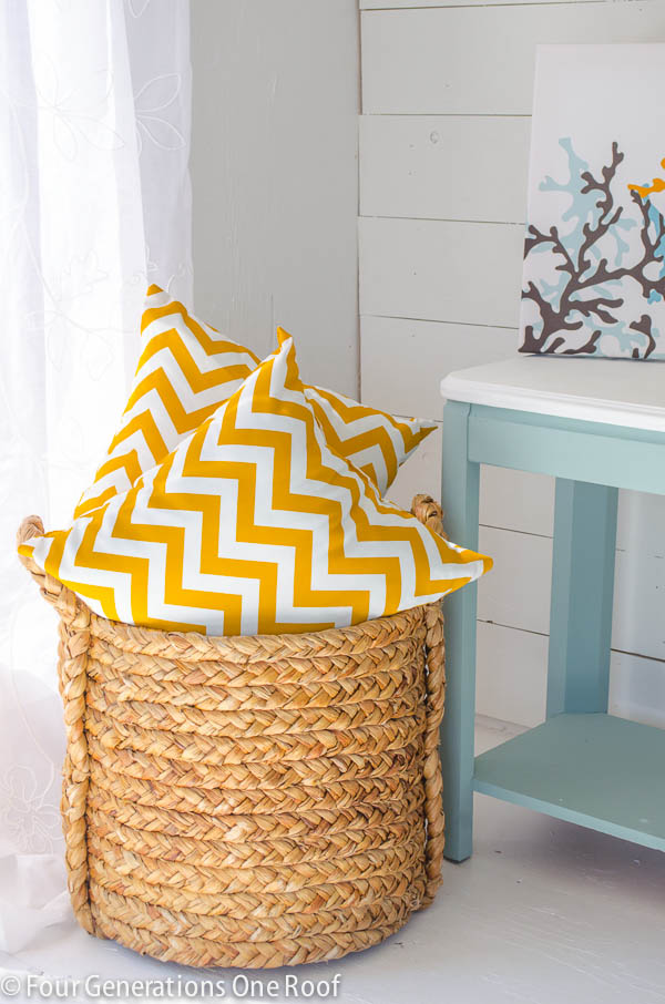 decorating with corn colored chevron