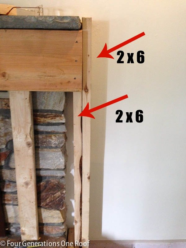 DIY fireplace makeover framing around vents