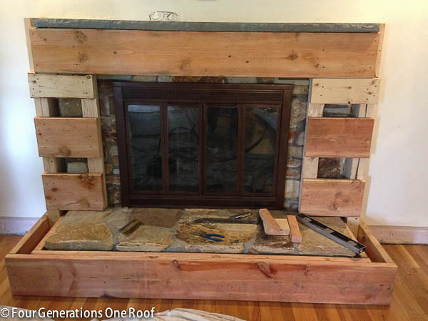 Our Fireplace Makeover Stage 3 Covering The Stone With