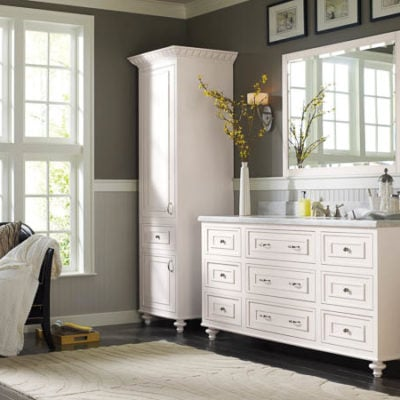 Makeover Bathroom Vanity Omega Cabinetry + free vanity makeover