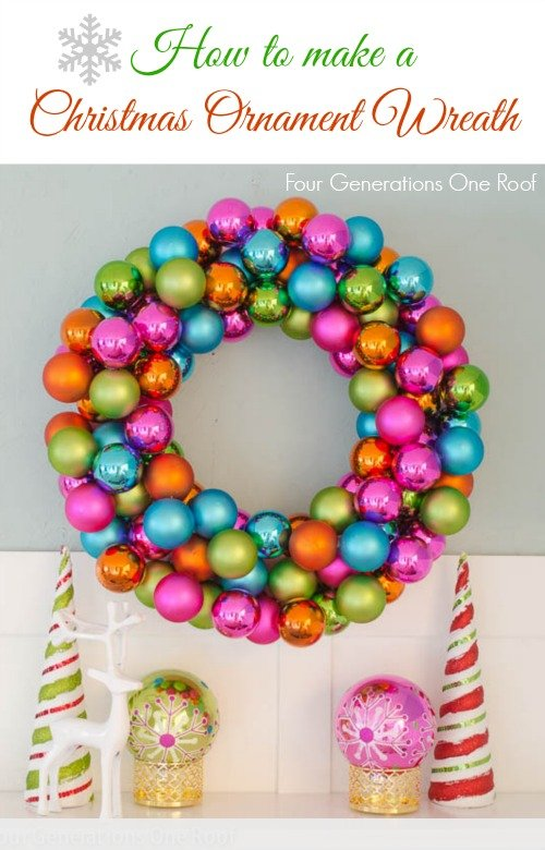 How to make a Christmas wreath using colorful ornaments ...