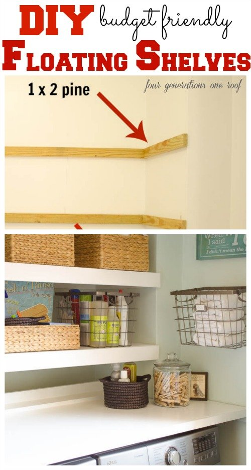 Diy floating shelves laundry room four generations one roof - Diy for small spaces decor ...