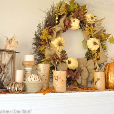 Decorating our rustic fall mantle