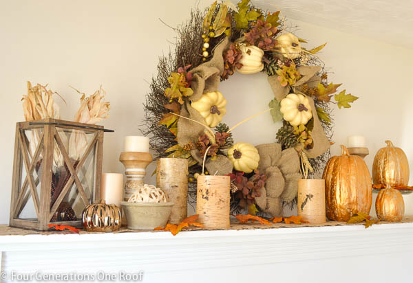 decorating our fall mantle