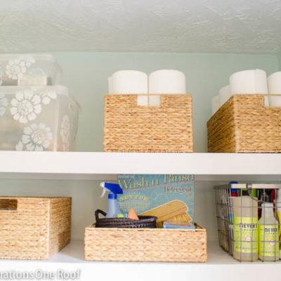 DIY Floating Shelves {laundry room}