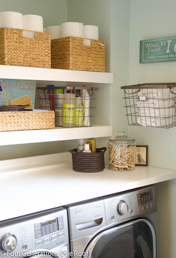 DIY Floating Shelves {laundry room} | Four Generations One ...