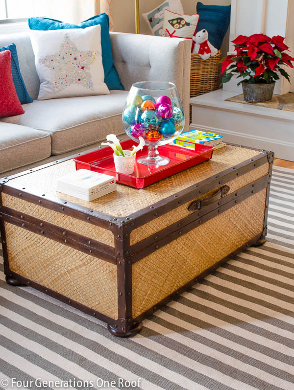 Cute storage trunk hiding christmas gifts