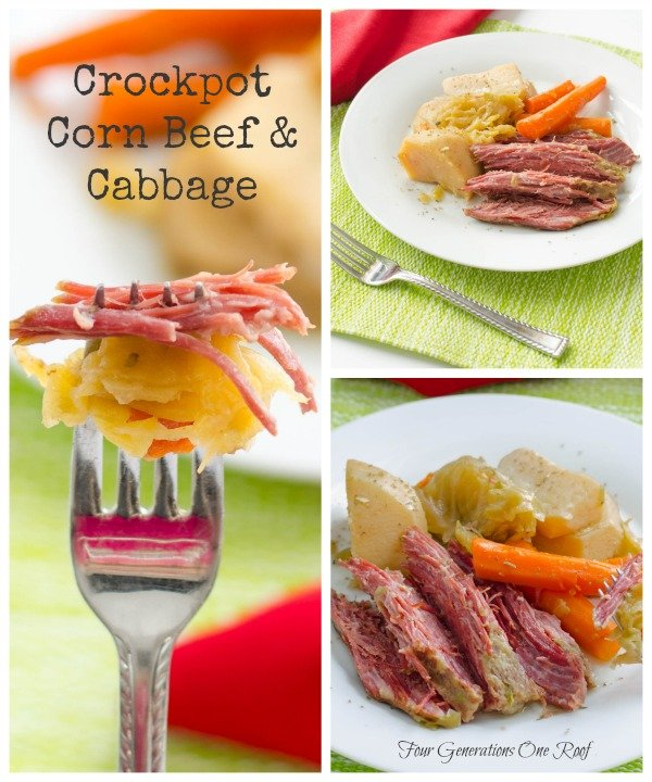corned beef, cabbage, potatoes, green placemat, red napkin and fork with corned beef