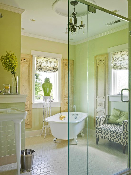 green and glass bathroom