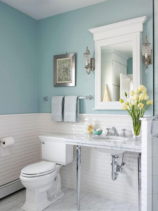 green + white sneak peek master bath