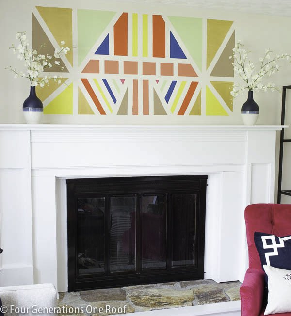 painted diy wall art using 3m scotch blue painters tape for delicate surfaces www.fourgenertionsoneroof.com