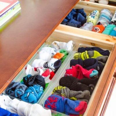 Organization in my son's dresser {nasty!}