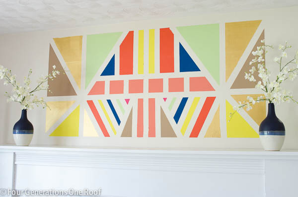 Painted DIY Wall Art using Scotch Blue painters tape for delicate surfaces. Full tutorial at www.fourgenerationsoneroof.com