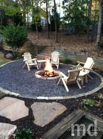 DIY fire pit stone and brick