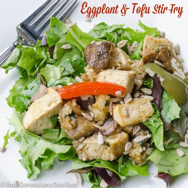 tofu stir fry with eggplant {easy healthy dinner that fills you up} www.fourgenerationsoneroof.com