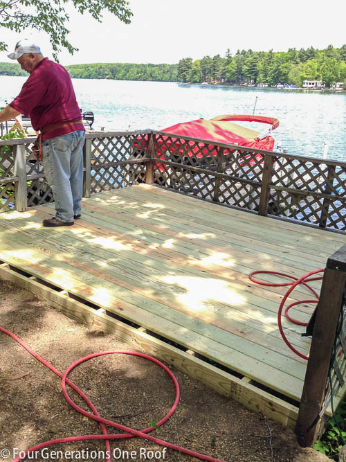 building a deck lake campsite summer project