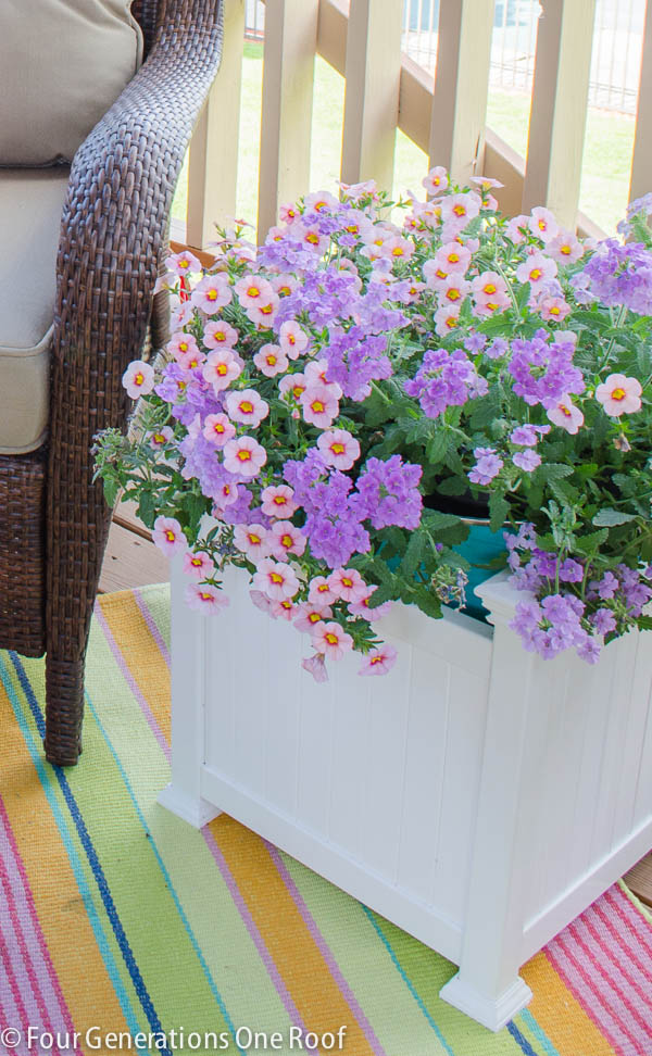 colorful summer covered porch makeover