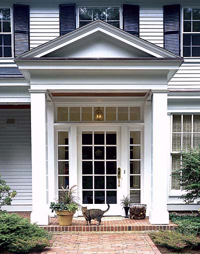 How to add curb appeal with a portico four generations for Exterior back door styles