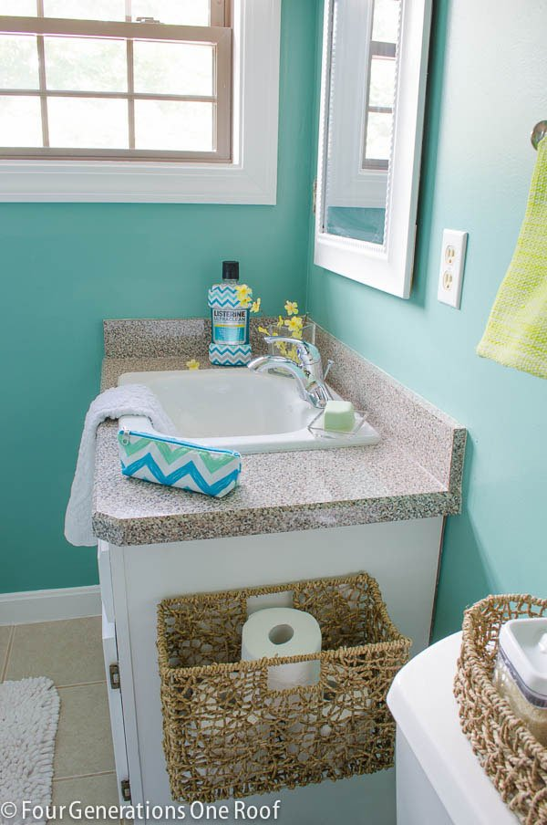Bathroom Mini Makeovers mini bathroom makeover with chevron listerine - four generations