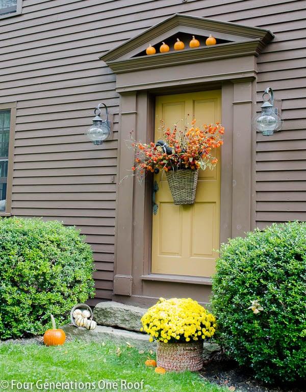 gorgeous front door fall basket