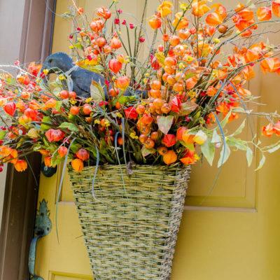 Gorgeous Front Door Fall Basket Hanger