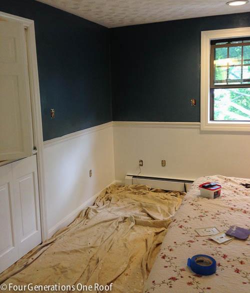 Blue Master Bedroom Paint Progress