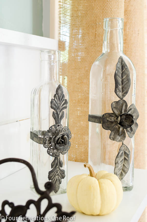 fall decorating ideas glass vase with decorative metal flower