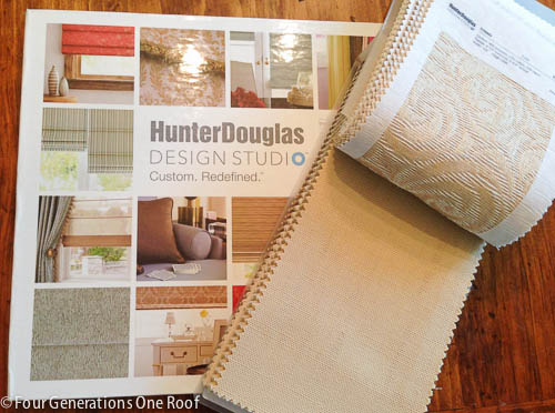 Julie from Decorview, which is part of Hunter Douglas, arrived last week and we spent some time talking about what our needs were and how we envisioned the room. We decided that a roman shade, batten front bungalow fabric in camel would be ideal from their Design Studio line.