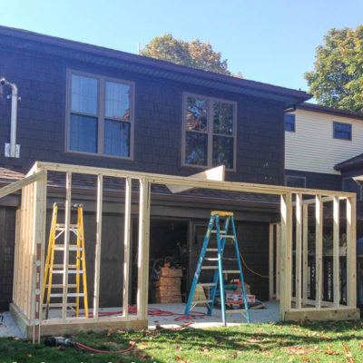 Framing a New Shed {the walls are up!}