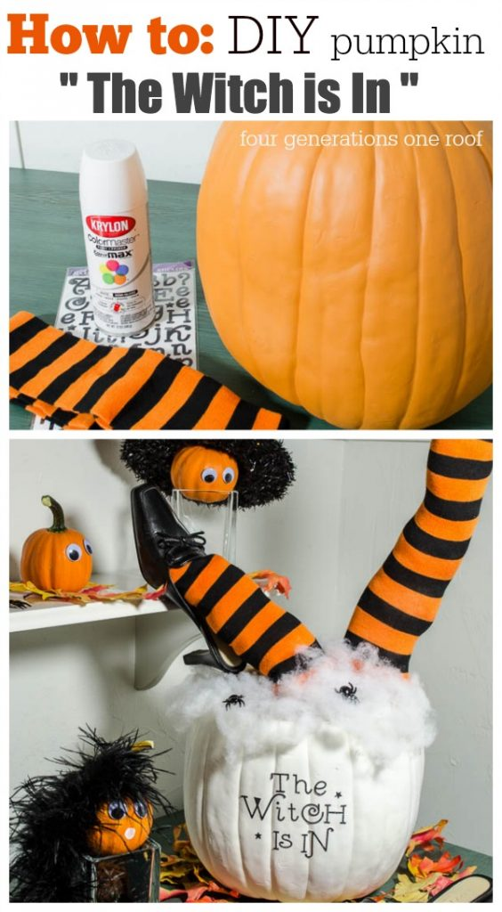 How to make a DIY Pumpkin with witch legs in under 30 minutes. Quick and easy halloween craft and perfect for any tabletop. This would be fabulous coordinated at a beverage station during a party.