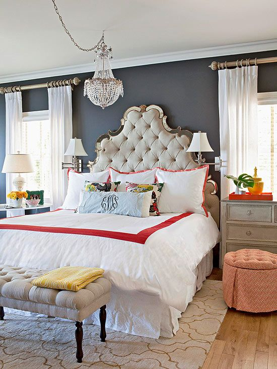 gorgeous master bedroom dark blue