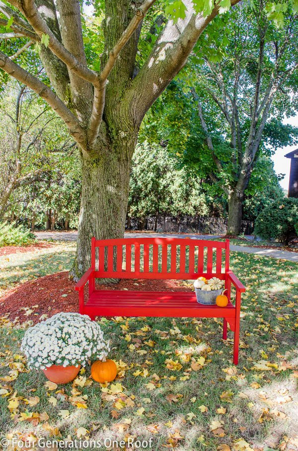 how to paint a red bench + diy tutorial using a paint sprayer