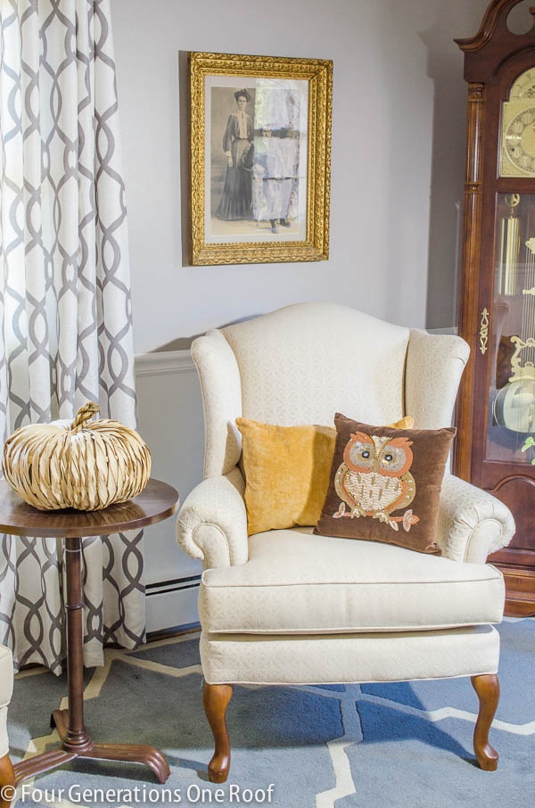 Moms small living room makeover gray white Four Generations